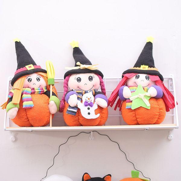 Yaratıcı Cadılar Bayramı Süsler ile Cadılar Bayramı Cadı Doll Kabak Festivali Ev Partisi Pencere Süslemeleri Masa Peluş Oyuncak için Standı