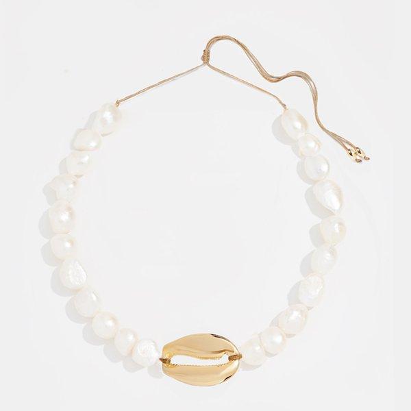 boho Puka Natural shell Collana di conchiglie donne dichiarazione di perle barocche bijoux collana girocollo Collier de coquillages gioielli