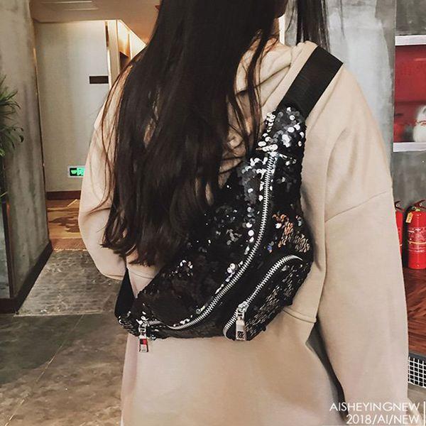 Fanny Pack For Women Sequin Paillette Shiny Shoulder Bum Bag Fashion Chest Bags Waist Pack Banana Bags bolso cintura