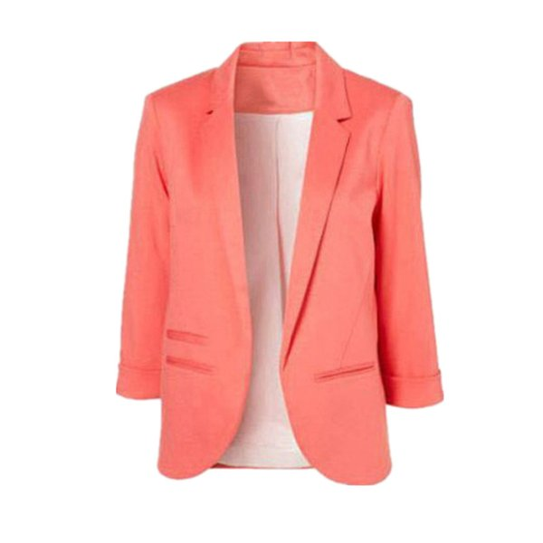 Women Formal Slim Suit Coat 3/4 Sleeve Outwear Office Lady Candy Colors Casual Plus Size Business Blazer Mujer Tops MZ1436 L18101301