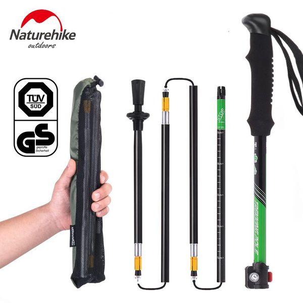 Naturehike 1 Pc 7075 Aluminium Alloy Adjustable Folding Ultralight Camping Trekking Walking Stick Pole Alpenstocks 34-135cm