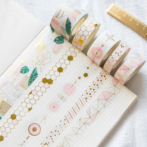 top popular Fresh Pink Gold Foil Washi Tape Set Diy Decorative Scrapbooking Sticker Planner Masking Adhesive Tape Label Drop Shipping 2016 2021