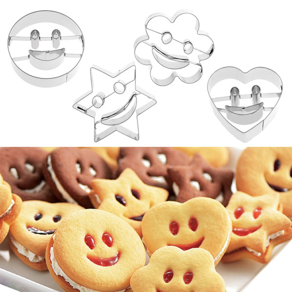 20Set(4Pcs) New Nice Stainless Steel Smiling Face Emoji Biscuit Cookie Cutter Cake Decorating Mold DIY Baking Mould Bakeware