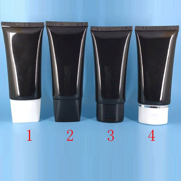 50ml - 60ml Black Cream Soft Tube For Cosmetics Packaging 2OZ Lotion CC Cream Plastic Bottles Skin Care Cream