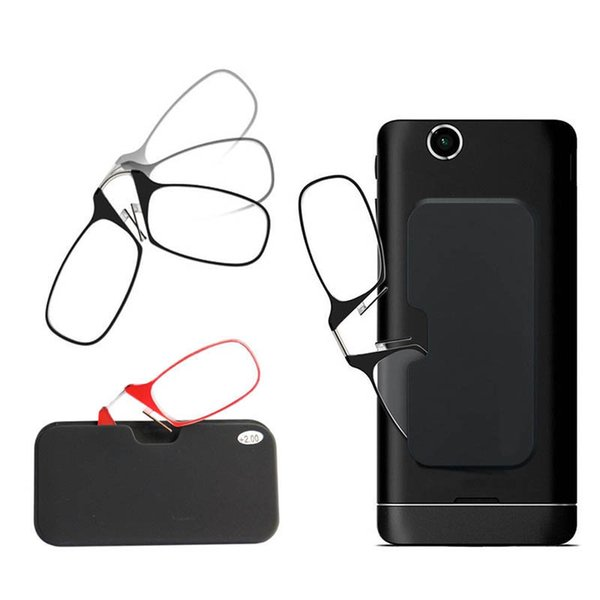 top popular Mini Reading Glasses Clip Nose Round Optical Glasses With Box Wallet Eyeglasses 1.5+2.0+2.5 2021
