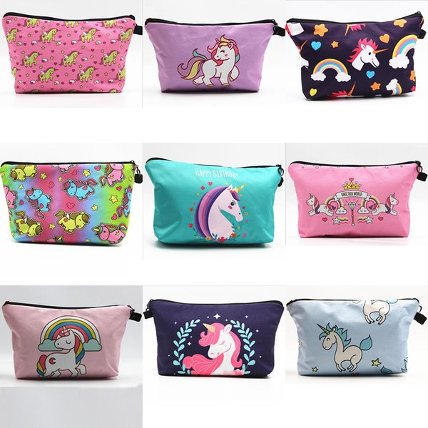 New Womens Wonderful Unicorn Pattern Cosmetic Zipper Bags Party Home Pretty Storage Cases Gifts Free Shipping