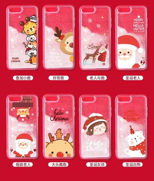For iPhone 6 6Plus Liquid Phone Case Sparkling Quicksand Christmas Elk Deer Winter Snow for iPhone6 iPhone 6Plus Glitter Cover