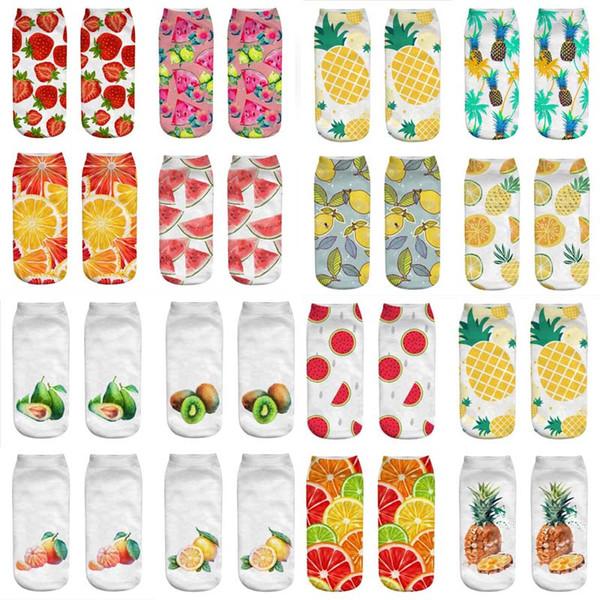 Şık Sevimli Iş Pamuk Çorap 3D Meyve Karpuz Ananas Baskı Orta Çorap Muhteşem Elastik Çorap Rahat Sokken Meias