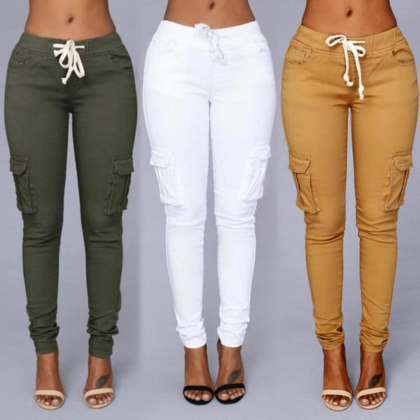 top popular 2018 Candy Colors Elastic Sexy Skinny Pencil Jeans For Women Leggings Jeans Woman High Waist Women's Thin-Section Denim Pants 2020