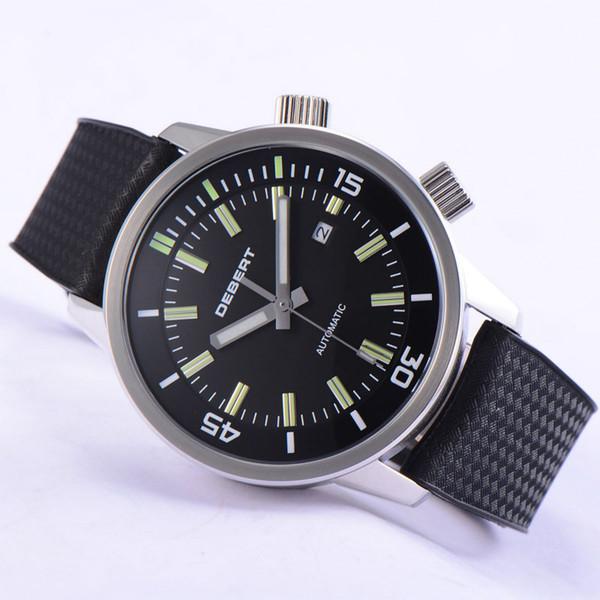 44.5mm DEBERT 러버 스트랩 블랙 다이얼 듀얼 다이얼 축광 형 자동식 손목 시계