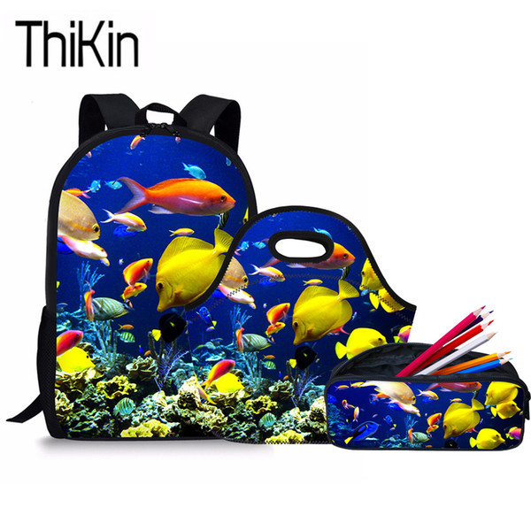 THIKIN 3Pcs/Set Primary School Bags for Kids 3D Fish Printing Shoulder Softback Children Sea World Schoolbag Backpacks Satchel