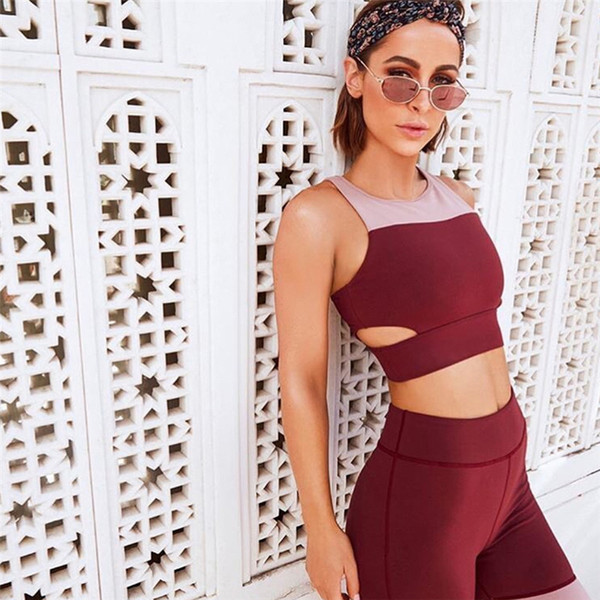2018 New Winered Yoga Suit Solid Hollow Out Women Yoga Set Backless Elastic Pantyhose Sport Suit Fitness Clothing Leggnings