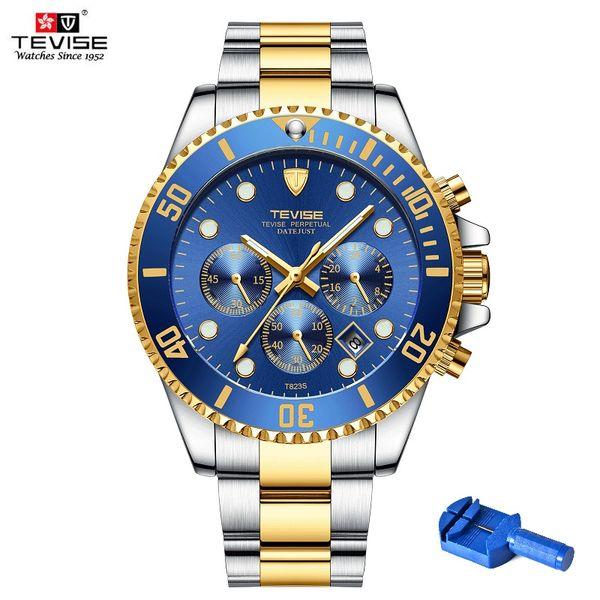Quartz Wristwatches TEVISE Men Watch T823S Week Date Luminous Wristwatch Mens Rotating Ring Clock Male Waterproof With Fix Tool