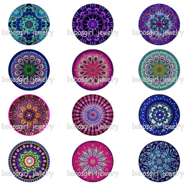 mandala flower glass snap button photo print Phone Holder GS9337