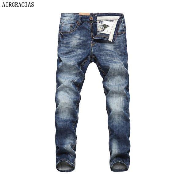AIRGRACIAS Men Jeans Design Biker Jeans Strech Casual Jean For Men Hight Quality Cotton Male Long Trousers 32 33 34 36 38 40 D18102402
