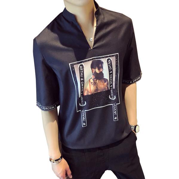 Camisa de la marca de verano para hombre de manga corta con cuello en V camisa de moda casual informal viento británico hombres vestido social