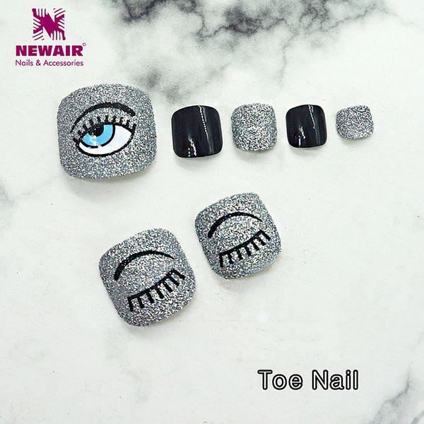 24PCS Toe Nail with Designs Smile Colorful False Toe Nails Full Cover UV Gel Decoration Nail Art