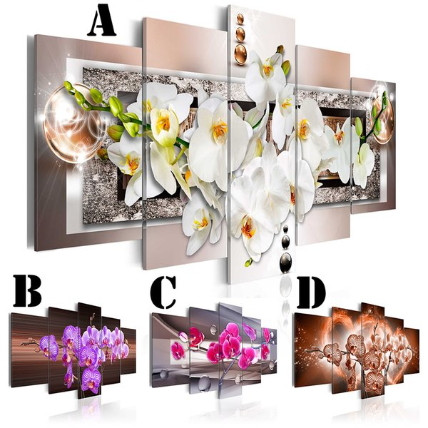 Wall Art Picture Printed Oil Painting on Canvas No Frame 5pcs/set Home Decor Extra Mirror Border Flower Abstract Purple Orchid