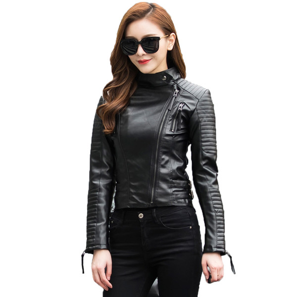 Autumn Women Punk Leather Jacket Soft PU Faux Leather Female Jackets Basic Bomber Leather Coats
