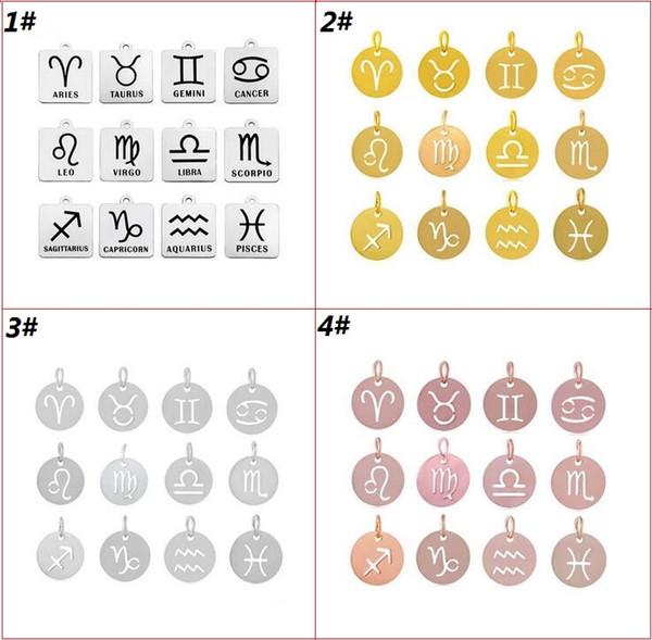 12 знаков зодиака Привесные ювелирные аксессуары для ожерелья Браслет Серьги Нержавеющая сталь Созвездие Подвески Подвеска Бесплатная доставка