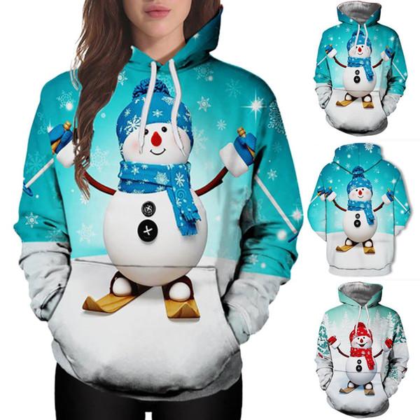 Christmas Women Sweatshirt Kangaroo Pocket Cartoon Snowman Print Hoodie 2018 Winter Ladies Loose Pullover Tops #8