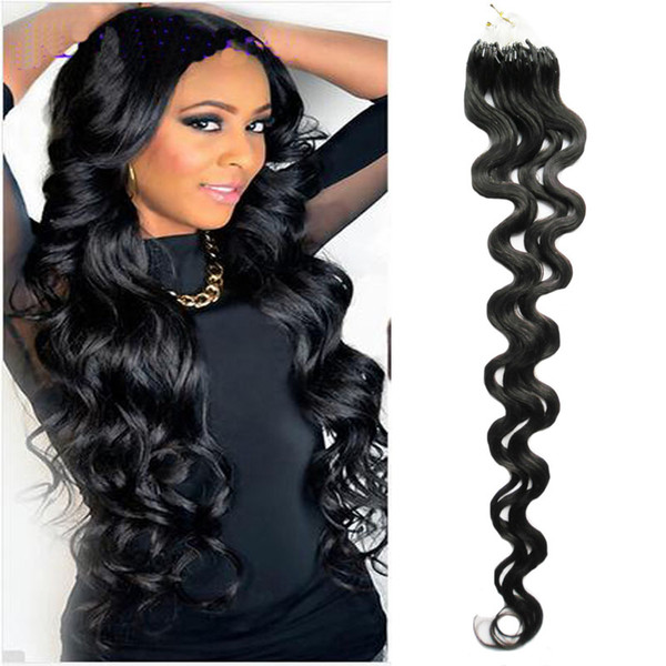 100% Human Micro Bead Links Machine Made Remy Hair 7a+ Unprocessed Virgin Brazilian Body Wave Hair 100g Micro Loop ring hair extensions