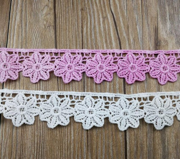 15Yard White/Pink Embroidered Flower Chiffion Lace Fabric Trim Ribbon For Apparel Sewing DIY Doll Cap Hair clip