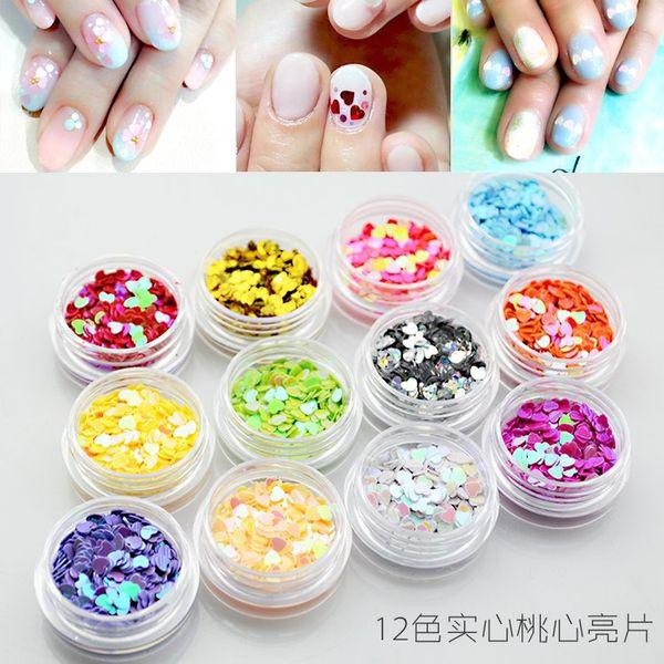 Bijoux de paillettes de perles ultra-minces à ongles en forme de cœur en paillettes de diamant rondes à paillettes carrées 12bottles / lot