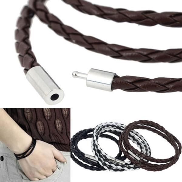 Новая мода женская мужская черная кожа чересстрочной манжеты браслет Браслет браслет Diy веревка груза падения BL-0218
