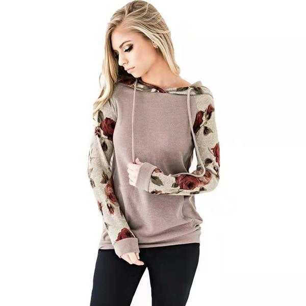 2018 vendita calda stile caldo moda autunno con cappuccio stampato pizzo manica lunga camicetta della signora maglione