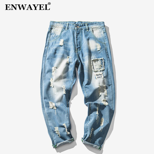 ENWAYEL Hole Ripped Distressed Harem Casual Jeans Men Clothes Fashion Hip Hop Male Denim Loose Trousers For Mens Pencil Clothing