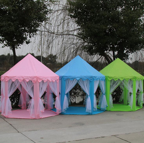 Portable Princess Castle Play House 3 Colors Outdoor Six Angle Kids Play Toys Tent Ball Play Tents 15pcs OOA5480