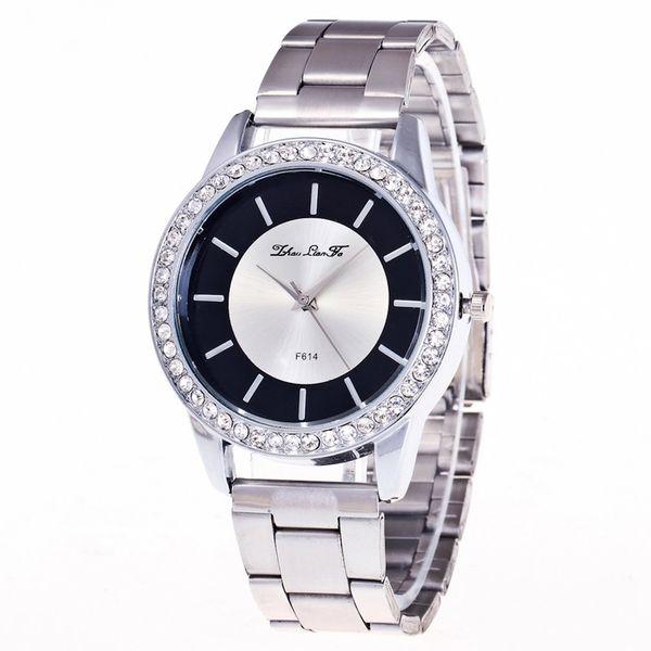 6246f21e5e4 De alta qualidade Brand new F-614-G Beneficente alça de aço cinta de quartzo  relógio de prata Moda Popular Popular