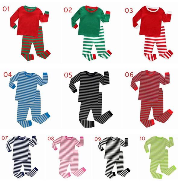 XMAS Heißer Verkauf Mädchen Baumwolle Nachtwäsche Anzug Outfit Herbst Weihnachten Kleidung Set Baby Jungen Weihnachten Pyjamas Kinder Baumwolle Kleidung 10 Stile