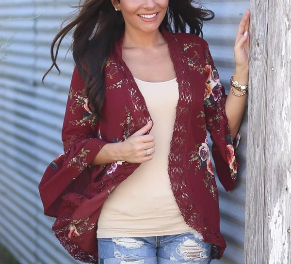 2017 Summer Floral Lace Jacket Women Kimono Tops Open Front Coat Jackets Flare Sleeve Cardigan Casual Shirt
