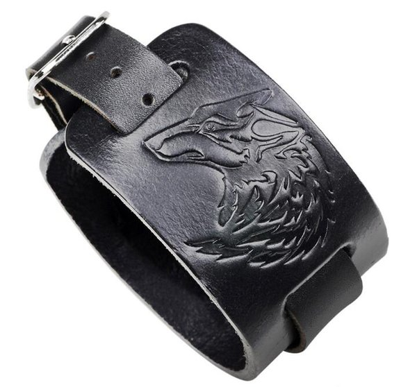 Loup tête en cuir gaufrage Bracelet punk rock vent 2018 nouveau Bracelet gros L584