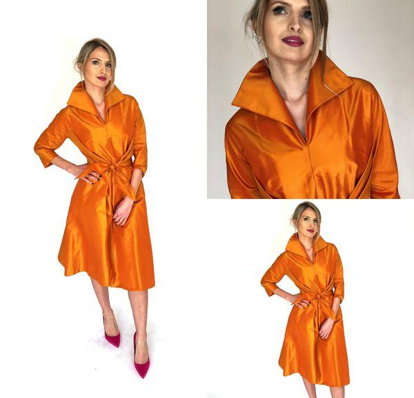 Elegant Orange Mother Of The Bride Dresses High Neck 3/4 Long Sleeve Knee Length Taffeta Plus Size Mother's Gowns Wedding Guest Dress