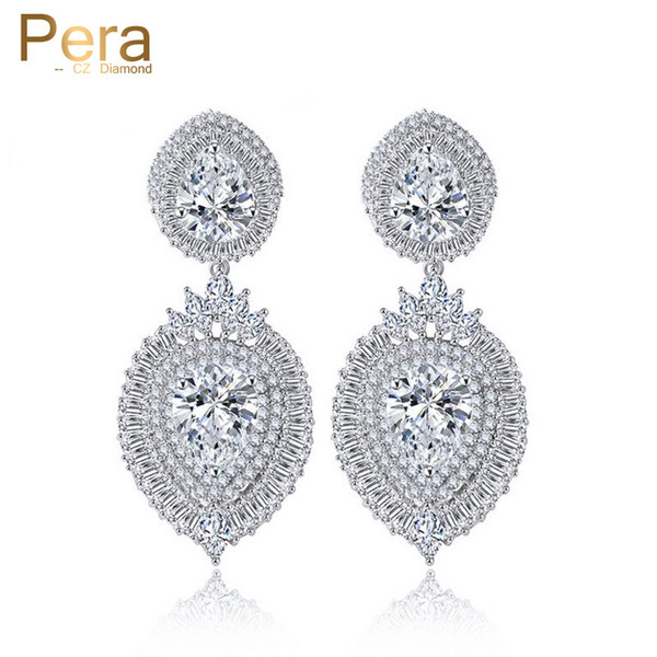 Pera Luxury Cubic Zirconia Stone Indian Women Big Long Dangling Drop Earrings Wedding Party Costume Jewelry For Brides E142 C18111901