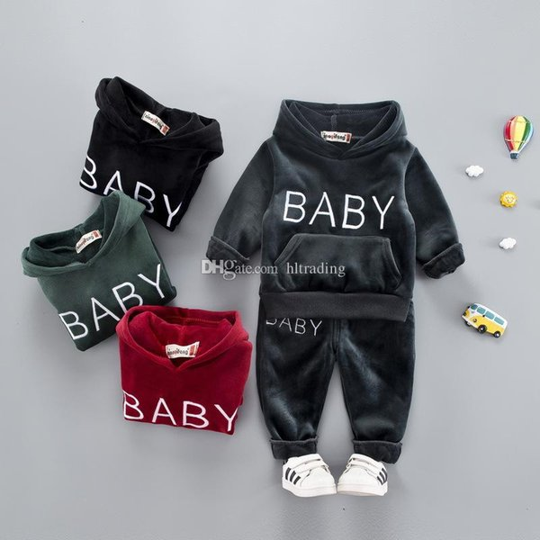 Baby girls boys Gold velvet outfits children BABY letter embroidery Hooded top+pants 2pcs/set Autumn Winter suit kids Clothing Sets C5535