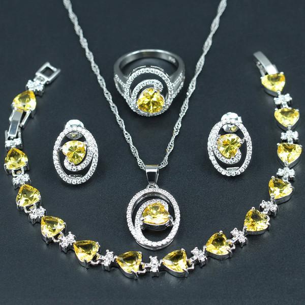 Gelb Herzförmigen Brautschmuck Sets für Frauen Geschenk Silber Farbe 925 Weiß CZ Ohrringe / Anhänger / Halskette / Ring / Armband