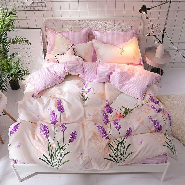 Lavender Flower Duvet Cover Bedding Set For Girls Twin Double Queen King Size 3/4pcs Teens Kids Boys Plant Flat Sheet Bed Linen