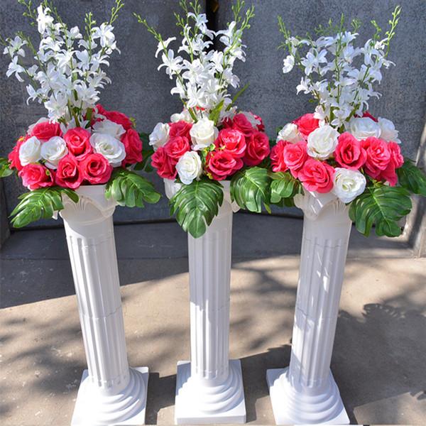 Frete Grátis Branco Coluna Romana Com Conjuntos de Flores Artificiais Subiu Corredor Do Casamento Corredor Decoração de Palco Pilares Adereços Suprimentos