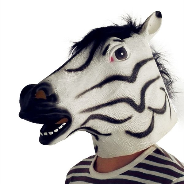 Hanzi_masks Funny Halloween Natural Latex Horse Head Mask Party Masquerade Mask Zebra Mask