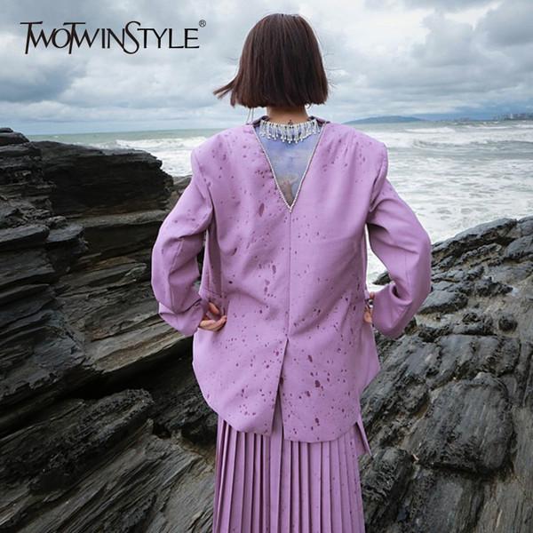 TWOTWINSTYLE Diamantes Borla Blazer Mujeres de gran tamaño sin respaldo de manga larga dividida Mujer abrigo rosado púrpura otoño OL ropa