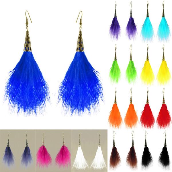 Feather Earrings 12 Colors wholesale lots Bronze Accessory Charm Light Dangle Eardrop New (White Black Orange Green Sky Blue Purple) (JF099)