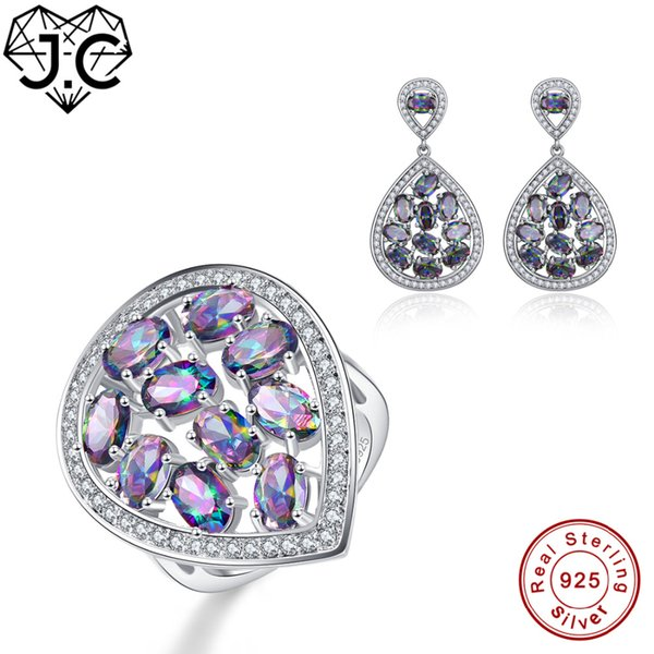 J.C Women Engagement Jewelry Girl Delicate Rainbow Topaz Ring & Earring Genuine Solid 925 Standard Sterling Silver Jewelry Set