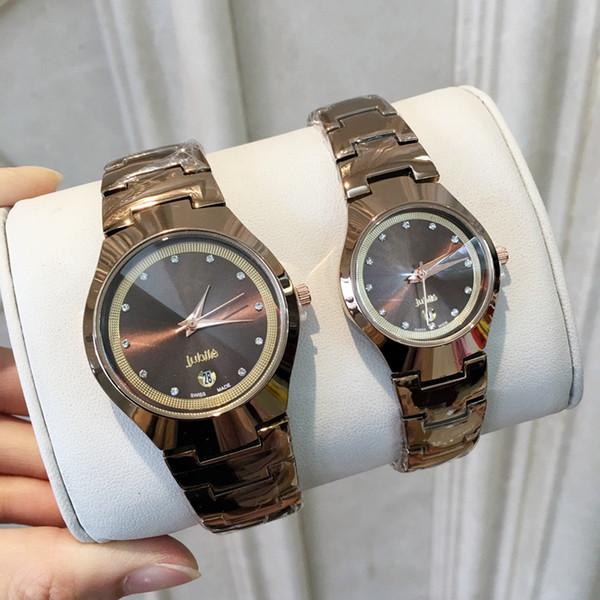 SteelFashion inoxidable hombre / reloj de las mujeres con fecha de color marrón reloj de la marca nuevo vestido de lujo reloj de cuarzo cuadrado Relojes De Marca reloj de pulsera