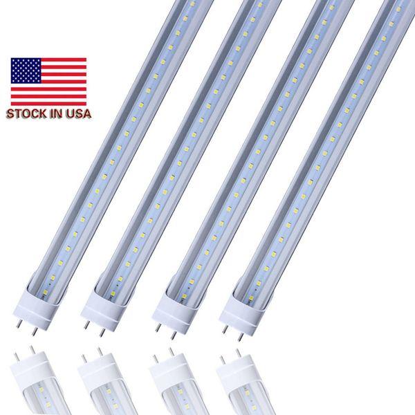 Stock in u bi pin 4ft led t8 tube light 18w 22w 28w double row t8 replace regular tube ac 110 240v ul fcc