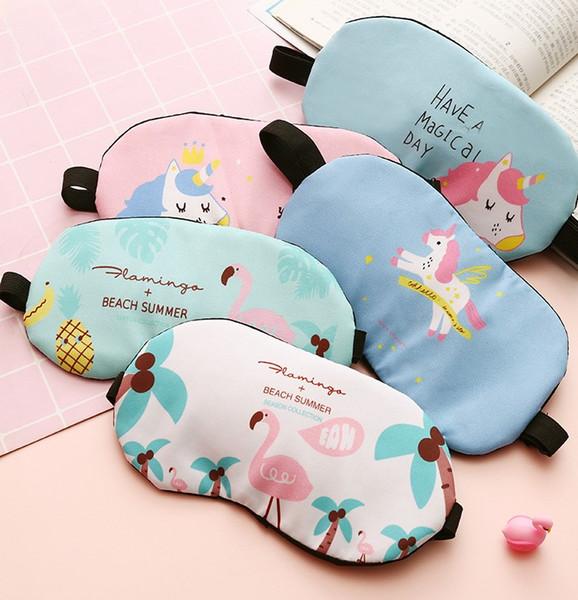 Cute unicorn Flamingo soft cover travel sleep eyeshade eye patch unicorn eye mask lunch break relieving light shading eye mask