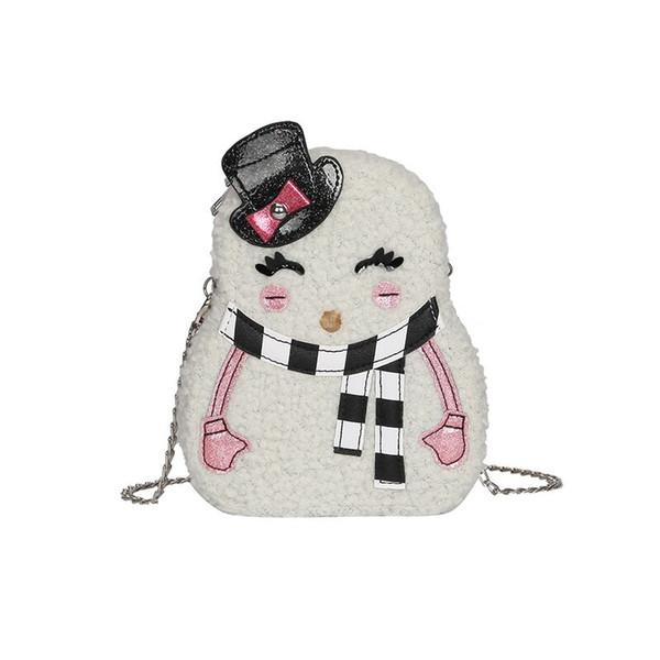 Kış yeni peluş çanta Messenger çanta sevimli kardan adam karikatür tarzı zincir peluş sikke çanta